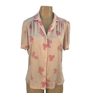 1070's Vintage Polyester Graff Floral Button Up
